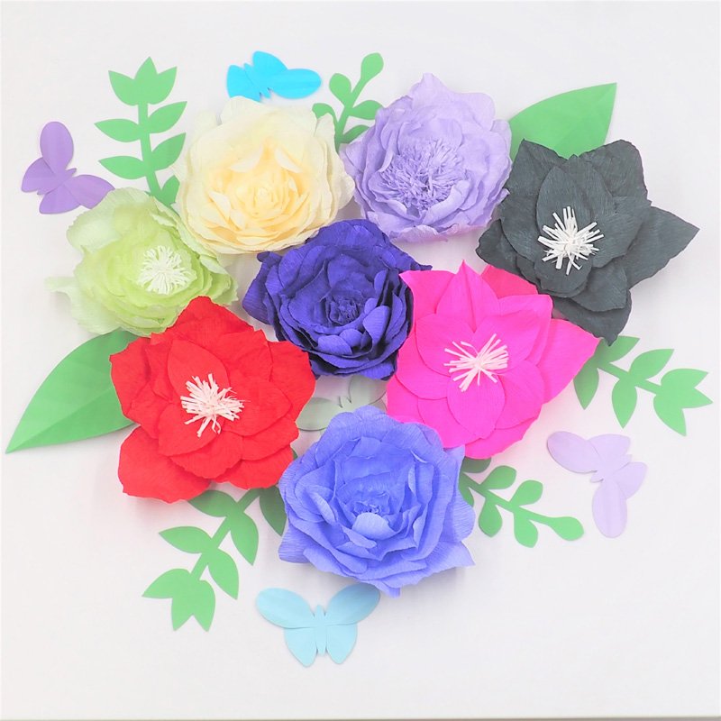 2018 Giant Crepe Paper Flowers Backdrop 8pcs Leaves 7pcs Butterflies 5pcs For Wedding Event Retail Store Wall Backdrop Decor In Party Diy