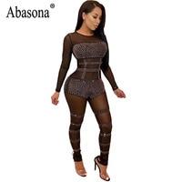 Abasona Women Sexy Bodycon Sequin Jumpsuit Black Mesh Diamonds See Through Bodysuit Round Neck Long Sleeved Jumpsuits For Women