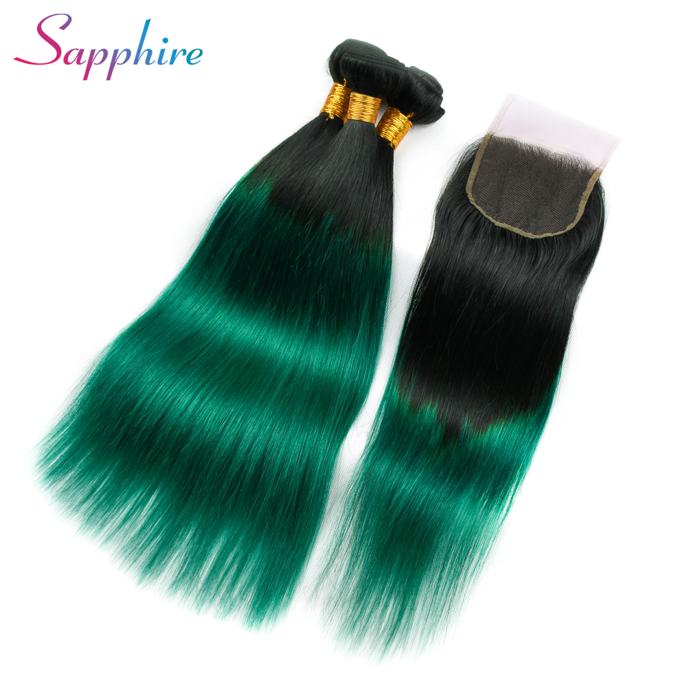 Sapphire Ombre Bundles With Closure Professional 1B/ Green TwoTone Human Hair Brazilian Straight Hair 3 Bundles Pack With Closur