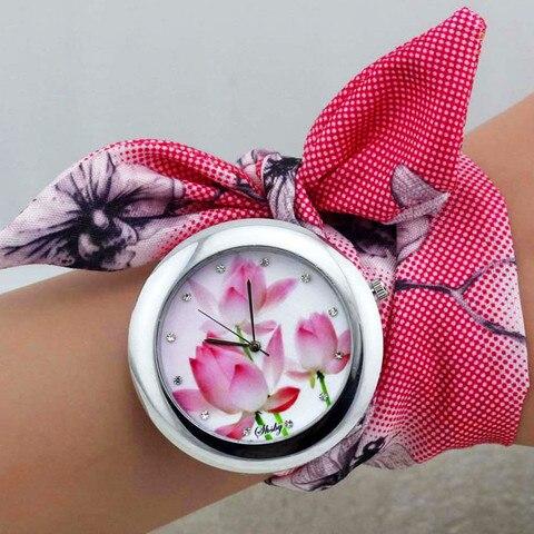shsby 2018  New design Ladies flower cloth wrist watch fashion women dress watch high quality fabric clock sweet girls watch Lahore