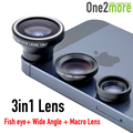 Hot Universal 3 in1 Lens Fish Eye Wide Angle Macro Mobile Phone Camera Lens Fisheye Kit For IPhone 4 5 6 Samsung S4 S5 Note 3 4