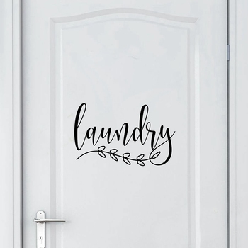 Bathroom Sign Decal Home Toilet Door Art Wall Decor , Laundry Door Sign Vinyl Sticker Farmhouse Style Mural Decals Home Decor 9