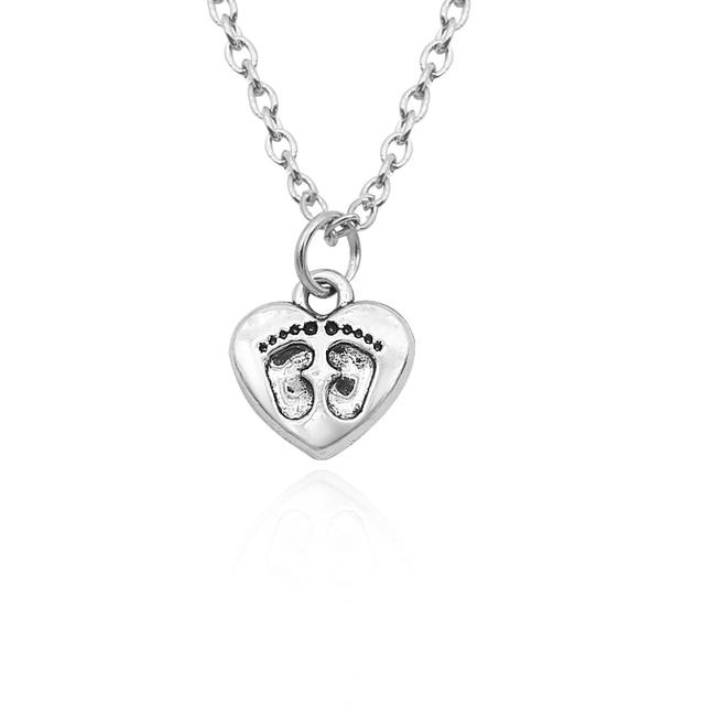 Trendy heart footprint pendant necklaces diy handmade cute baby trendy heart footprint pendant necklaces diy handmade cute baby footprints charm pendants necklace for women girls aloadofball Choice Image