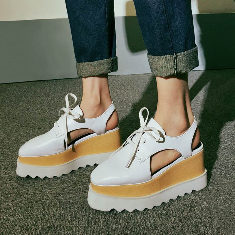 ФОТО 2017 Genuine Leather High Heels Large Size Wedges Slingback Lace Up Round Toe Platform Increased Preppy Style Women Sandals 22