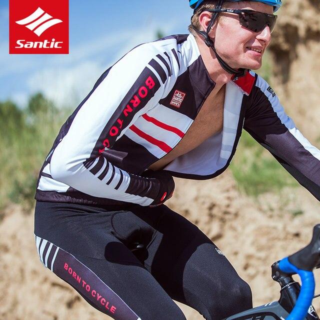 Santic Cycling Jersey Sets Men 2018 Autumn Winter MTB Road Bike Cycling  Clothing Fleece Keep Warm Bicycle Jacket Ropa Ciclismo 2fe9c29ec