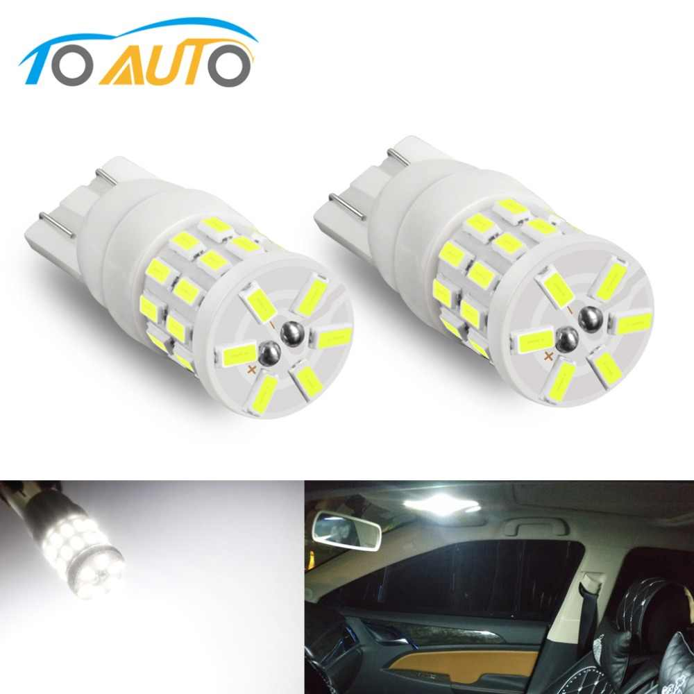 2pcs T10 W5W LED Bulbs 194 168 Super Bright Ceramic Car Interior Lights Dome Reading Side License Plate Light Lamp Auto DC 12V