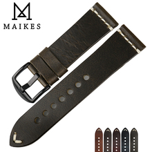 MAIKES High Quality Vintage Green Leather Stainless Steel Pin Buckle 20mm 22mm 24mm Watch Accessories Watch Strap Bracelets