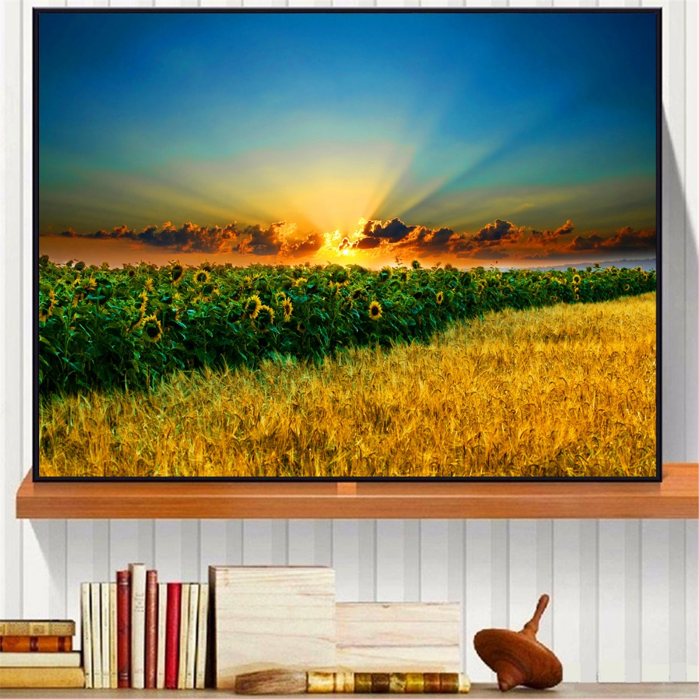 Sunrise Field Landscape Canvas Art Print Painting Poster Wall Picture For Living Room Home Decorative Bedroom Decor No Frame