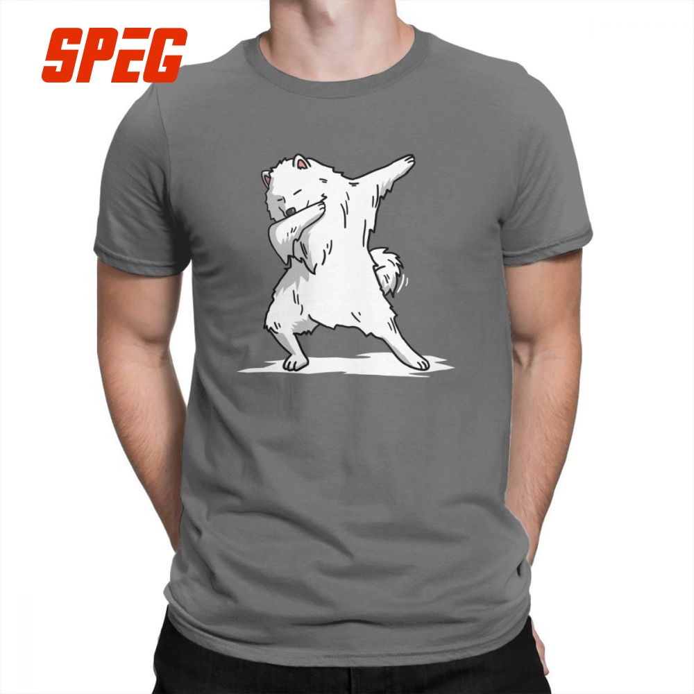 Man Funny Dabbing Samoyed Dog   T  -  Shirt   Awesome Crewneck Short Sleeve Tops Purified Cotton Tees Summer Style   T     Shirts