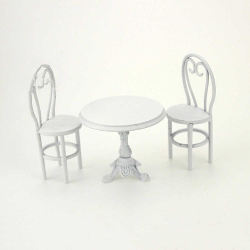 112 кукольный домик миниатюрные аксессуары мини металлический обеденный стол стул набор имитация мебели модель игрушки для украшение для кукольного