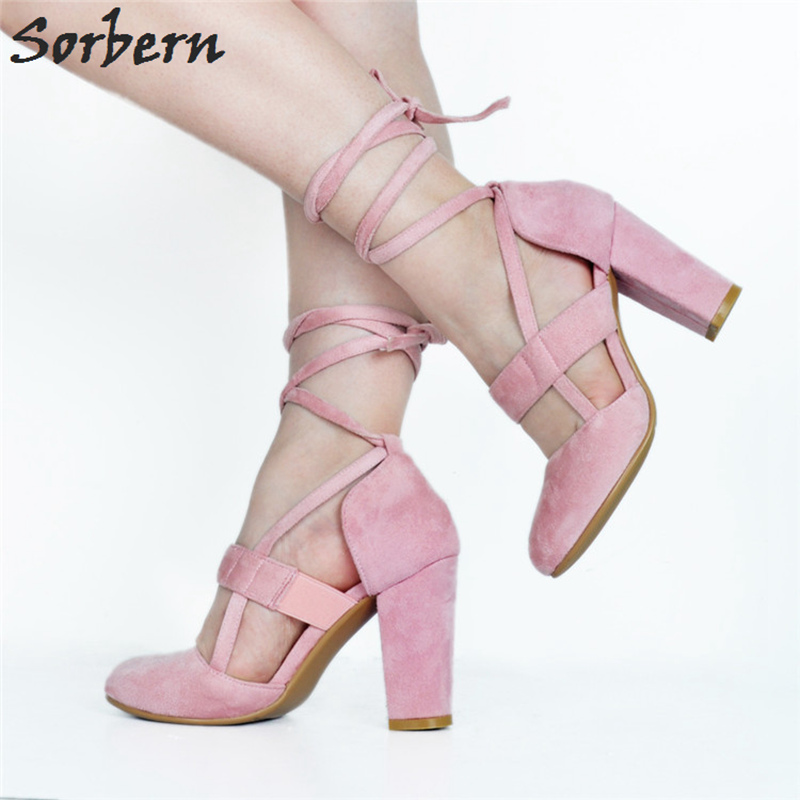 Sorbern розовые флоковые милый круглый носок лодочки с ремешком вокруг лодыжки женские туфли лодочки высокий толстый каблук женские туфли лодочки женская обувь на заказ на каблуке белого цвета/красного цветов на высоком каблуке - 4