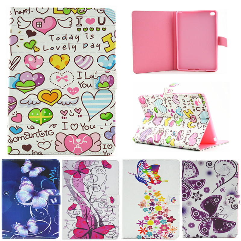 For Ipad Mini 4 Butterfly Flower Flip PU Leather Case For Apple iPad Mini4 Case Stand Protector Skin Tablet Cover Fundas