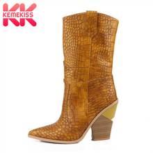 09336c89fec5c2 KemeKiss grande taille 33-46 femmes demi bottes courtes hiver ajouter  fourrure Plaid marque chaussures