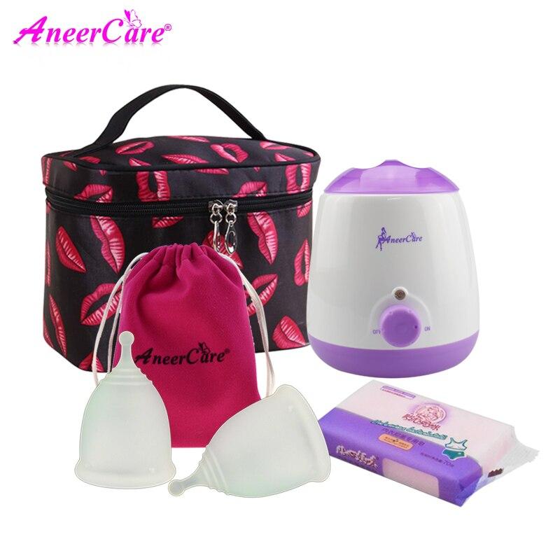 Aneercare copa menstrual sterilizer Menstrual cup medical silicone for women coppetta mestruale coletor menstrual collectorFeminine Hygiene Product   -
