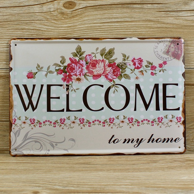 2 designs free shipping Welcome Metal Sign ,Welcome Metal Art Home Decor Sign with flowers , size 30x20cm