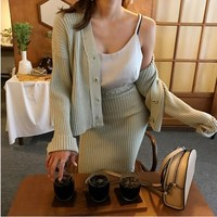 2017 Autumn Fashion Women Solid Color Cotton Long Sleeved Cardigan Sweater Elastic Waist Skirt Two Piece