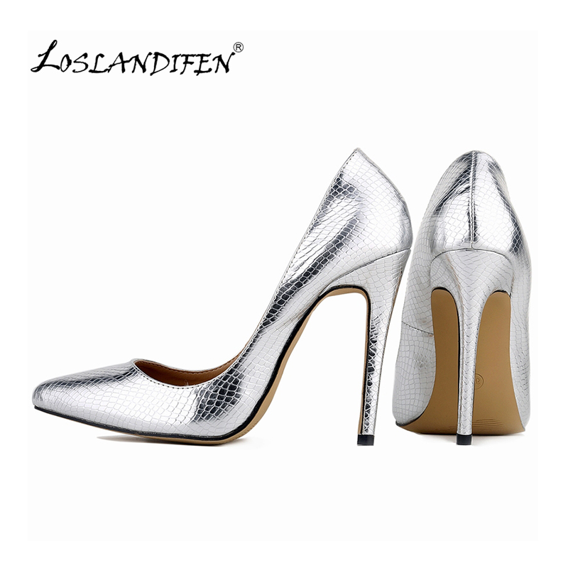 LOSLANDIFEN New Heels Stilettos High Spring Summer Pointed Toe Thin Women Party Shoes Ladies Pumps 302-1XEY
