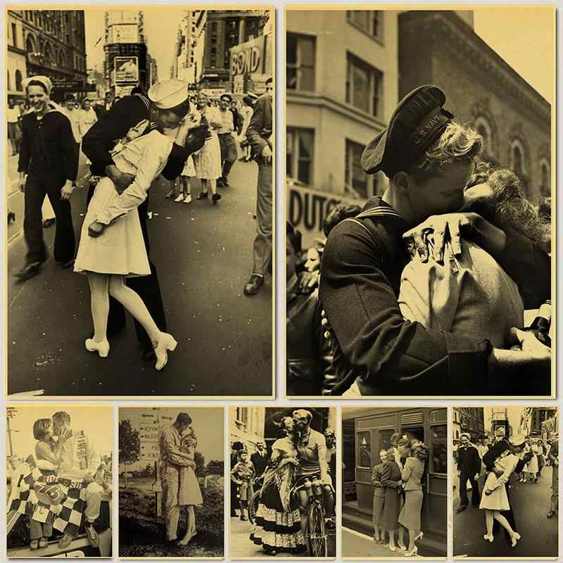 Retro Poster Del Mondo Guerra II Vittoria Vecchia Foto Bar Cafe Vintage Decorazione Pittura Infermiera Baci Sailor Casa di Arte