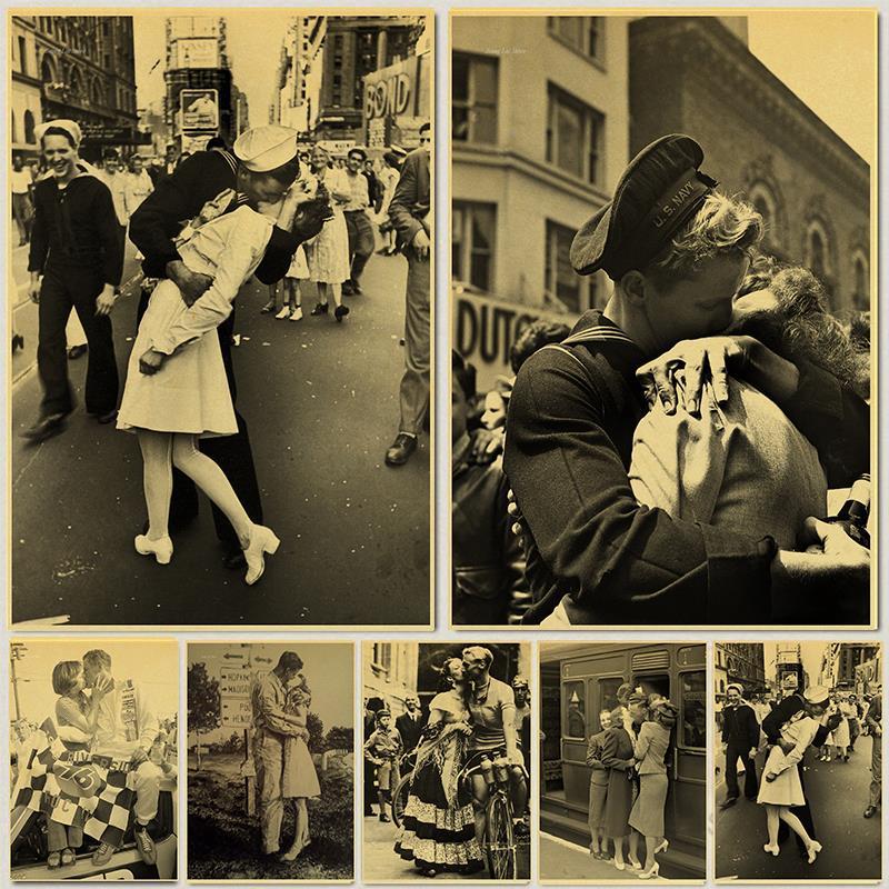 Retro Poster World War II Victory Old Photo Bar Cafe Vintage Decoration Painting Nurse Kisses Sailor Home Art