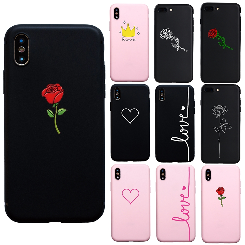 Simple Art Lovely Pink Heart Couple Rose Soft Case for iPhone 6s Plus 7 8 Plus 6 Plus X XS Max XR 5s SE Funda Coque Cover Case(China)