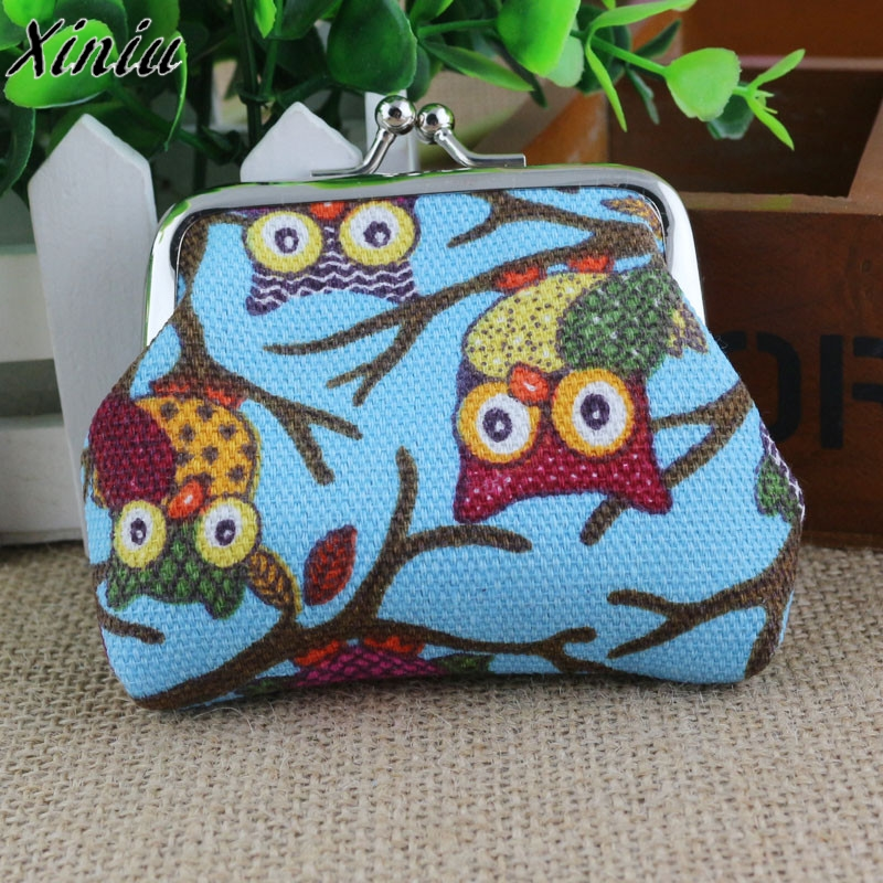 Canvas Coin Purse Women Cartoon Animal Prints Mini Wallets Lovely Style Hasp Owl Small Clutch Wallet Bag Carteira Mulheres #7321