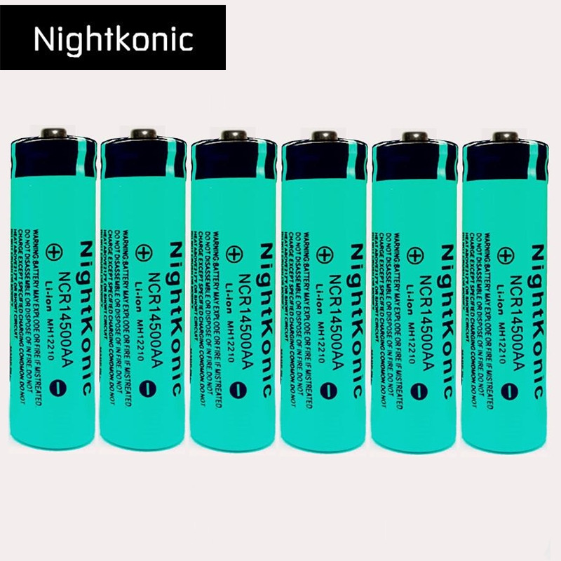 6 PCS/LOT 14500 Rechargeable Battery 3.7V Li-ion Rechargeable Battery for flashlight