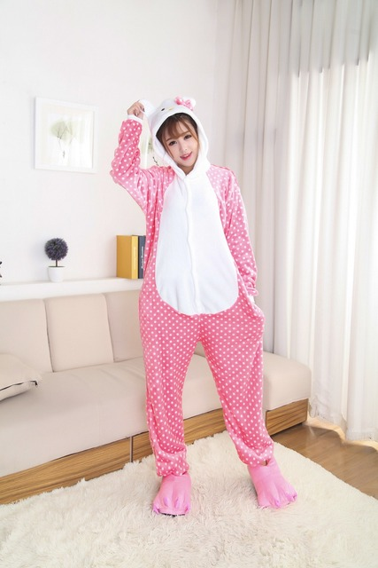 dbc3b27f7 2017 Women Hello Kitty Pajamas Sets Warm Flannel Man Siamese Cute Cartoon  Pajamas Winter Pink Dot Nightgowns Plus Size Wholesale