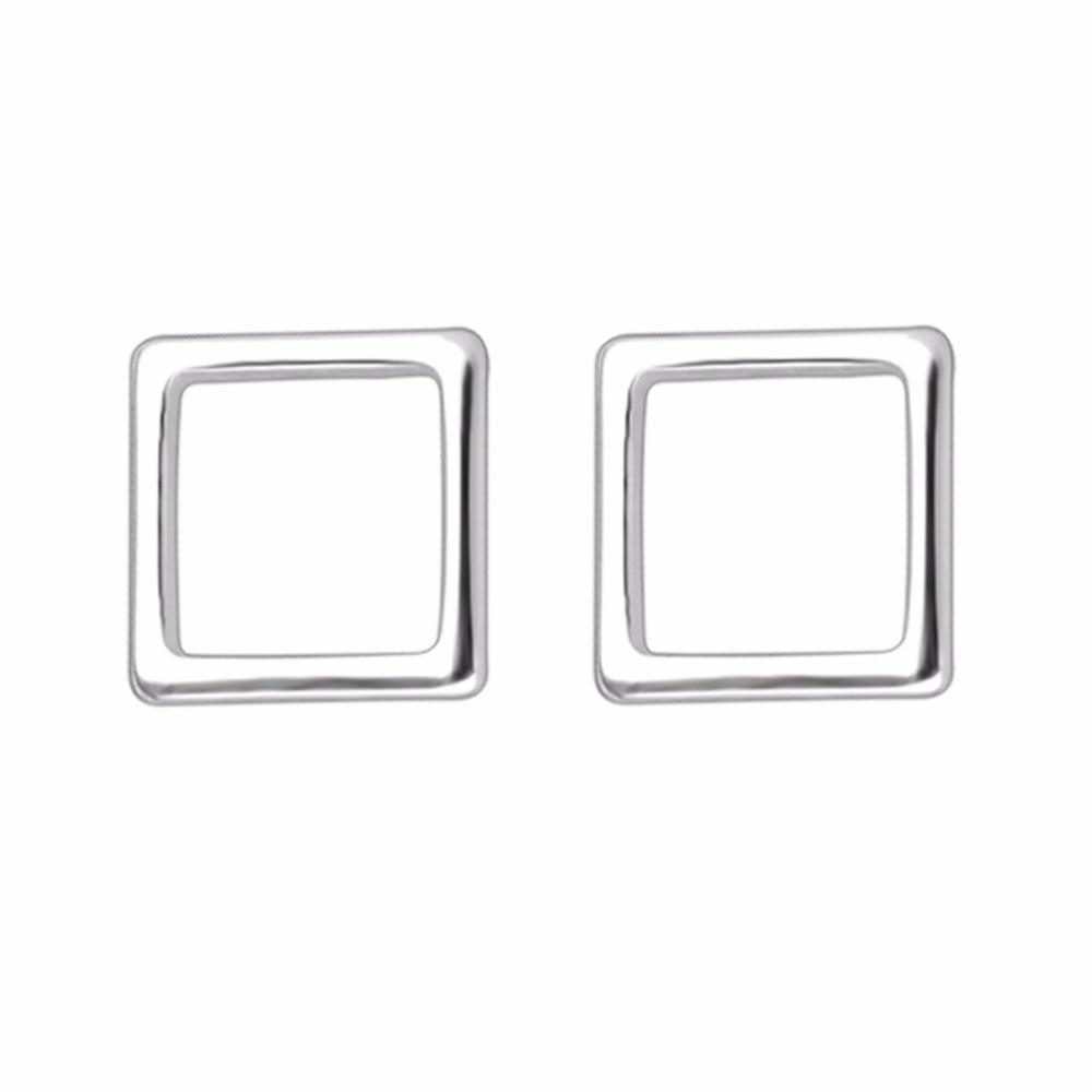 QIMING New Design Men Earring Girls Silver Geometric Square Women Stud Earrings Wedding Gift Simple Design Wholesale Jewelry