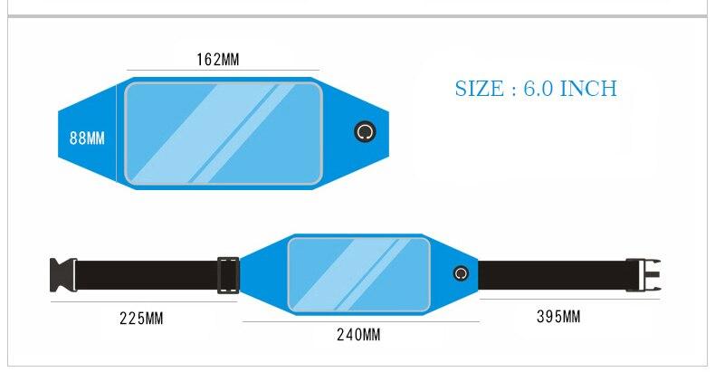 ROCKBROS Waterproof Running Bag Waist Bag Sport Belt Bags 5.8-6 Inch Phone Pouch Case Bags For IPhone 6 7 Plus Sport Accessories 10