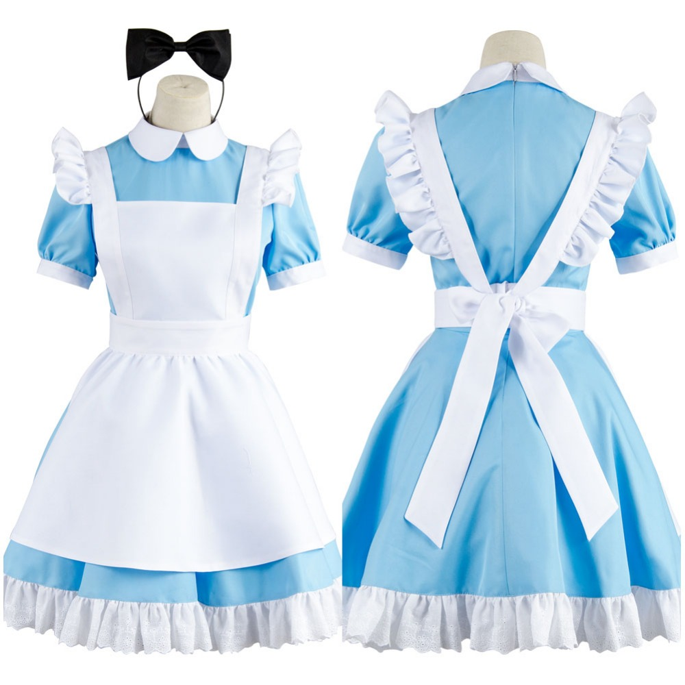 все цены на Hot Sale Alice in Wonderland Costume Alice Dress Maid Cosplay Fantasia Carnival Halloween Costumes for Women full set