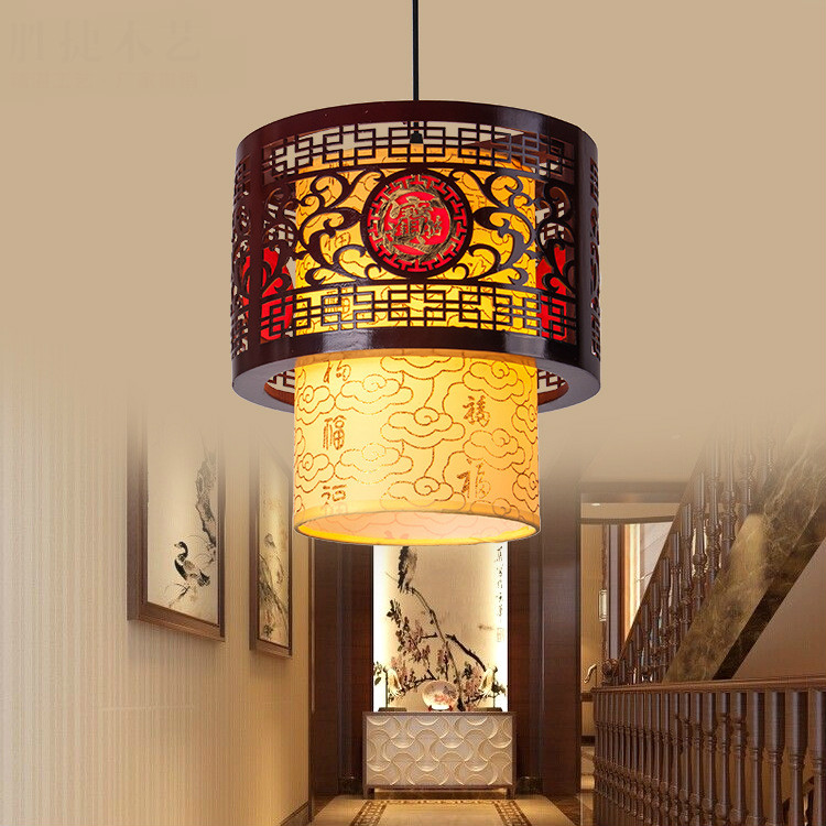New Arrival Classical Chinese Stylewooden Parchment Led E27 Pendant Light For Dining Room Tea House Restaurant Deco 2253