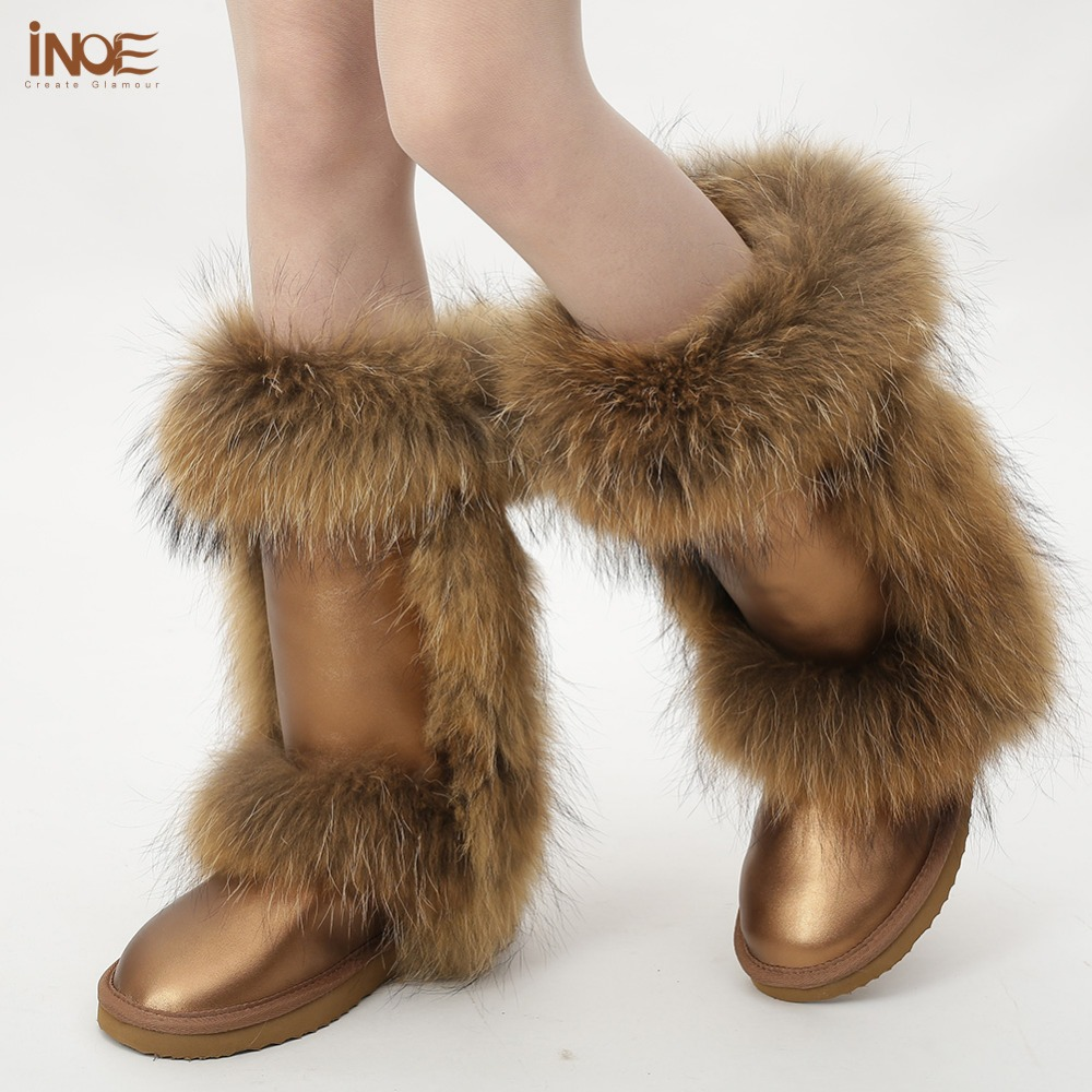 INOE Real Nature sheepskin leather wool fur lined high snow boots for women winter shoes with fox fur waterproof high quality inoe suede high snow boots for women winter shoes sheepskin leather fur lined big girls tall wool thigh winter boots black brown