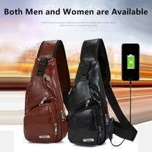 Male Shoulder Bags USB Charging Cross body Bags Men Anti Theft Chest Bag Messengers Bag Men Leather Vintage Pack Travel Back  Pa men travel chest pack single rucksack england chest bags shoulder cross body bag external usb charge backpack women bag pack