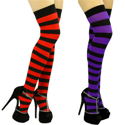 a6b064ba9942f 10 Color Black Red Blue Fashion Wide Vertical Striped Women's Sexy Thigh  High Stockings