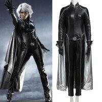 Sensfun X Men Storm ororo Манро Косплэй костюм комбинезон + Перчатки + плащ черный кожаный комбинезон костюм Индивидуальный заказ для для женщин