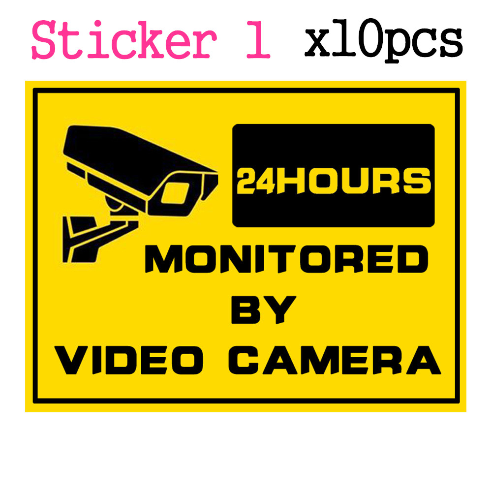 10pcs/Lot Warning Sticker 24 Hours Monitored By Video Camera Surveillance Security Camera Home Alarm Warning Decal CCTV Signs