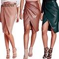Falda 2016 de la moda de invierno de las mujeres de cuero de la pu de la cintura de la falda corta faldas midi vestidos desgaste atractivo del club del vendaje de bodycon pencil skirt