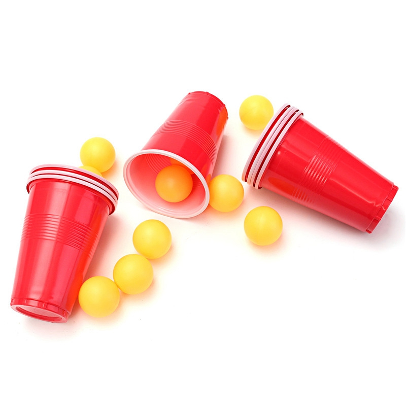 Pong Balls & Cups - Party Beer Pong Fun Kit 16