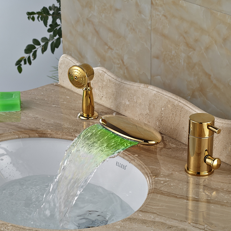 Best качество Водопад ванной кран с ручным душем Deck крепление золотой латуни LED Цвета ванна Наполнитель