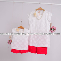 Spring Autumn Child Kid Clothing Family Bottoming Clothes Light Beige Dress For Mom Girls Lady Woman