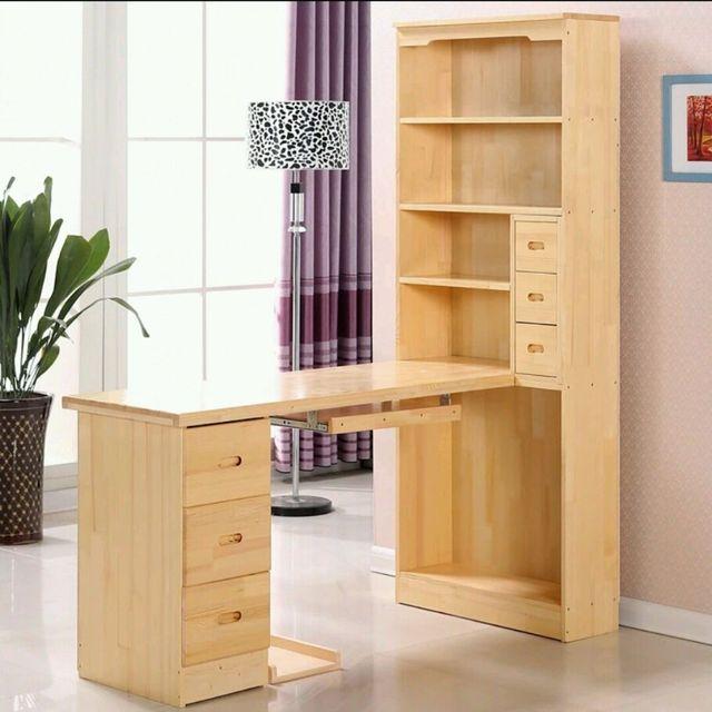 Puur massief houten computer bureau met boekenkast hoek combinatie ...