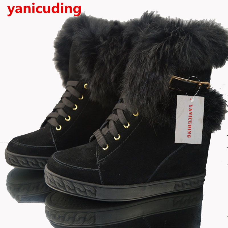 Sheep Fur Winter Snow Boots Round Toe Wedges Women Boots Height Increasing Warm Women Shoes Luxury Brand Design Super Star Shoes quality assurance sheep fur snow boots female warm winter flat bandage calf height boots large size free shipping