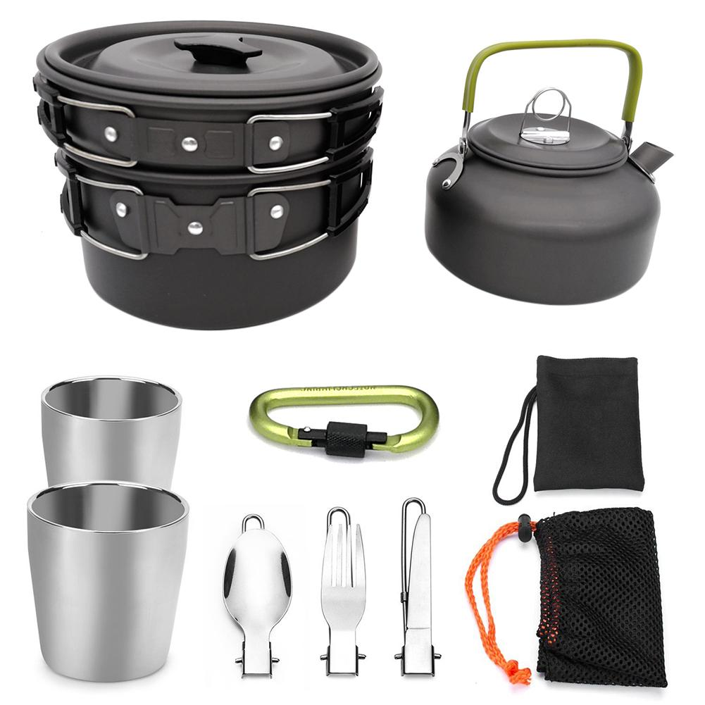 Outdoor camping hiking and picnic teapot pot set portable cookware mixing kit hiking camping cookware stove with cup coffee cupOutdoor camping hiking and picnic teapot pot set portable cookware mixing kit hiking camping cookware stove with cup coffee cup
