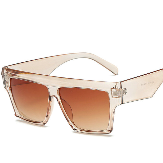 2018 Oversized Square Sunglasses Luxury Top Sunglasses For Women's Fashion Metal Frame Clear Lens Transparent Men Unisex NX