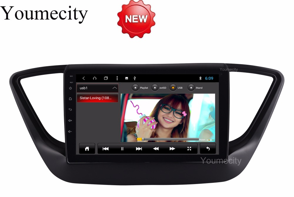 Youmecity Android 8.1 Car DVD for Hyundai Solaris 2017 2018 2 DIN GPS radio video Multimedia player Capacitive IPS Screen RDS 7 android 4 2 capacitive screen car dvd player w ips gps rds wifi radio aux bt for audi a3