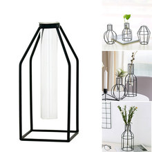 Flower Stand Wrought Iron Vase Hydroponic Home Decor Glass 4 Style Creative Flowerpot Test Tube