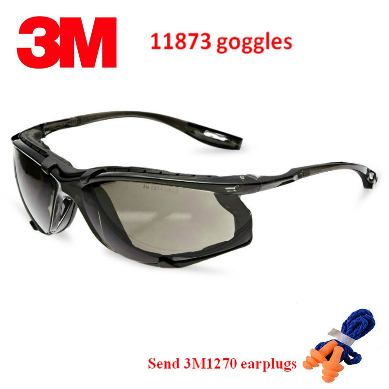 3M 11873 goggles Genuine security 3M safety goggles Foam pad Frame Wearable earplugs Riding a sport protective glasses-in Safety Goggles from Security & Protection