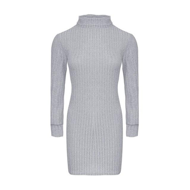 Turtleneck Striped Knitted Sweater Dress Women 2018 Autumn Winter Long Sleeve Ladies Warm Knitting Slim Mini Dresses Vestido