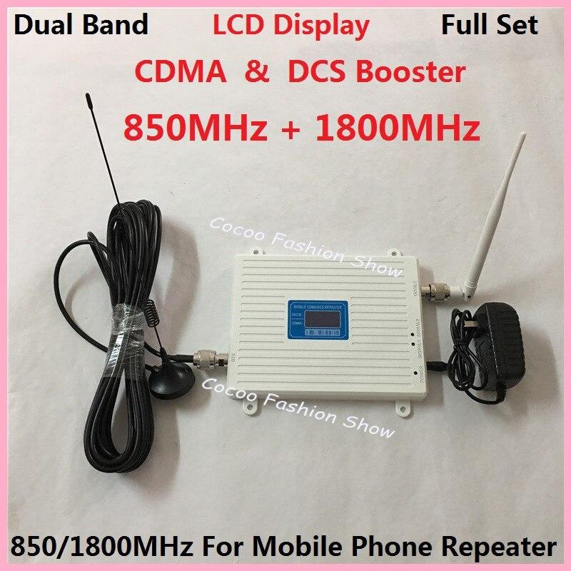 Nouvel écran LCD! Amplificateur de Signal de téléphone portable double bande 2G CDMA 850 MHz + 4G DCS 1800 Mhz, amplificateur de répéteur de Signal de téléphone portable