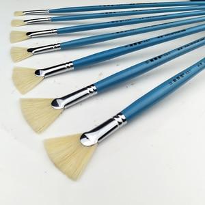 Image 5 - Alta qualidade cerdas de cabelo peixe cauda fã forma pincel pintura 12pcs artista acrílico pincéis pintura a óleo conjunto paisagem desenho escova